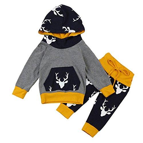 babykleidung baby kapuzenpullover set btruely kinder m dchen jungen tops streifen hose. Black Bedroom Furniture Sets. Home Design Ideas