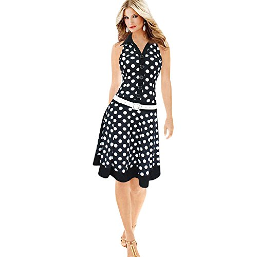 damen sommerkleider frauen dress vintage abendkleid polka dot print mini kleid a line swing. Black Bedroom Furniture Sets. Home Design Ideas